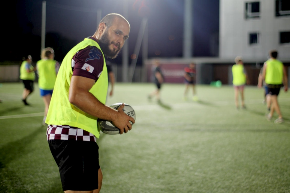 Hassan, a refugee from Syria, attends the Ovale Citoyen weekly rugby training session in Bordeaux, south-west France.