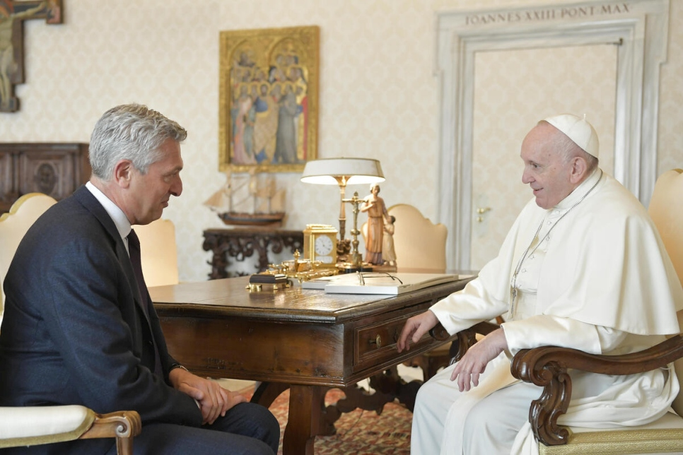 Italy. UN High Commissioner for Refugees Filippo Grandi meets with Pope Francis