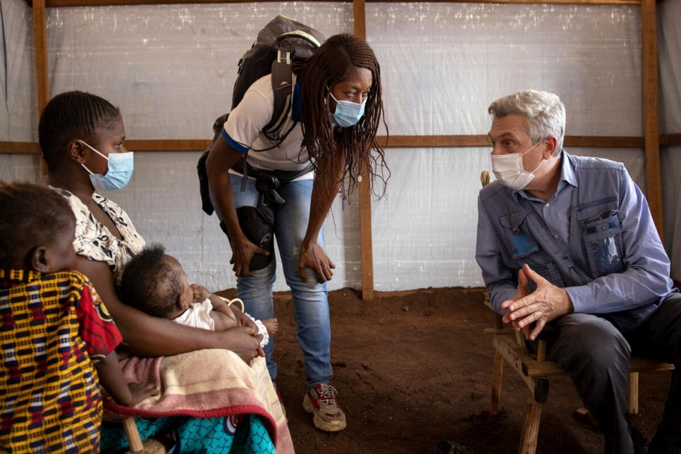 UN High Commissioner for Refugees Filippo Grandi meets with Micheline (left), a refugee from the Central African Republic living in the Democratic Republic of the Congo.