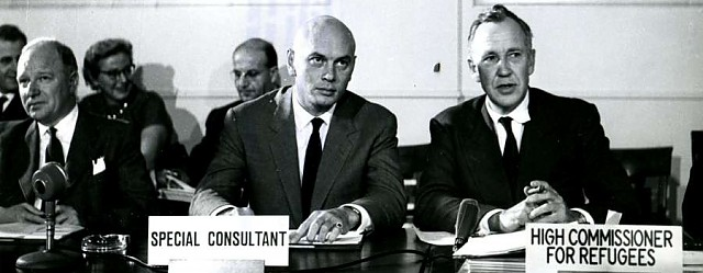 Switzerland/ Geneva/ Seen here as they attended today's meeting of the 25-member Executive Committee which administers the programs of the United Nations High Commissioner for Refugees are (l. to r.) Mr Jamieson, Mr Yul Brynner, Special Consultant, and Dr. Auguste Lindt, UN High Commissioner for Refugees/ UNHCR/ October 1960