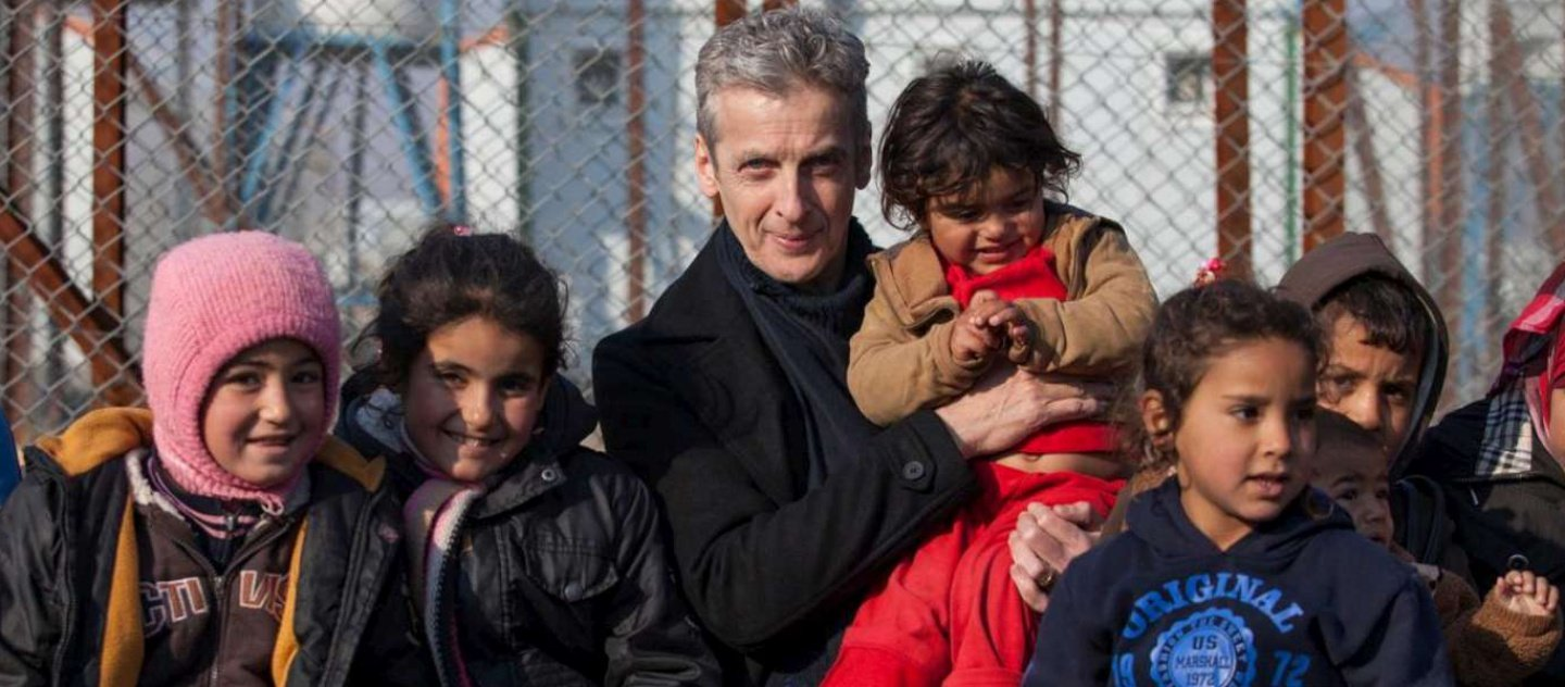 UNHCR High Profile Supporter Peter Capaldi meets Syrian refugee children who arrived with their families the night before and are waiting to receive their non-food items and to be assigned to their new homes.