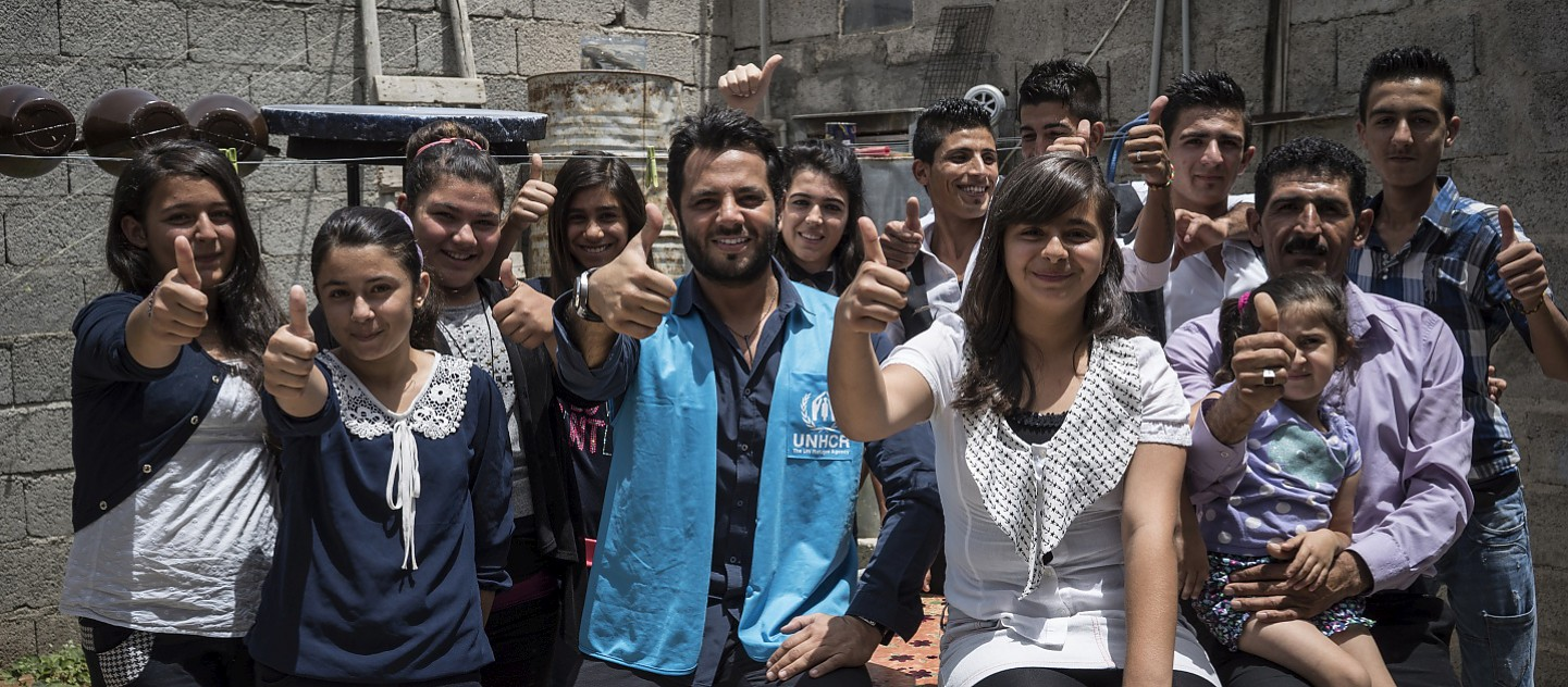 Syrian refugees who will be performing at the final of Refugees Got Talent pose for a group photo with Lebanese TV host and UNHCR High Profile Supporter Neshan a day before the competition.