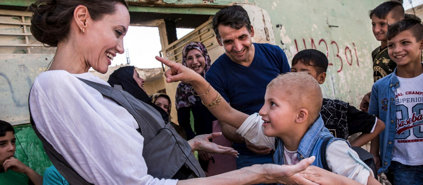 UNHCR Special Envoy Angelina Jolie in Mosul with an eight-year-old girl in West Mosul, Iraq