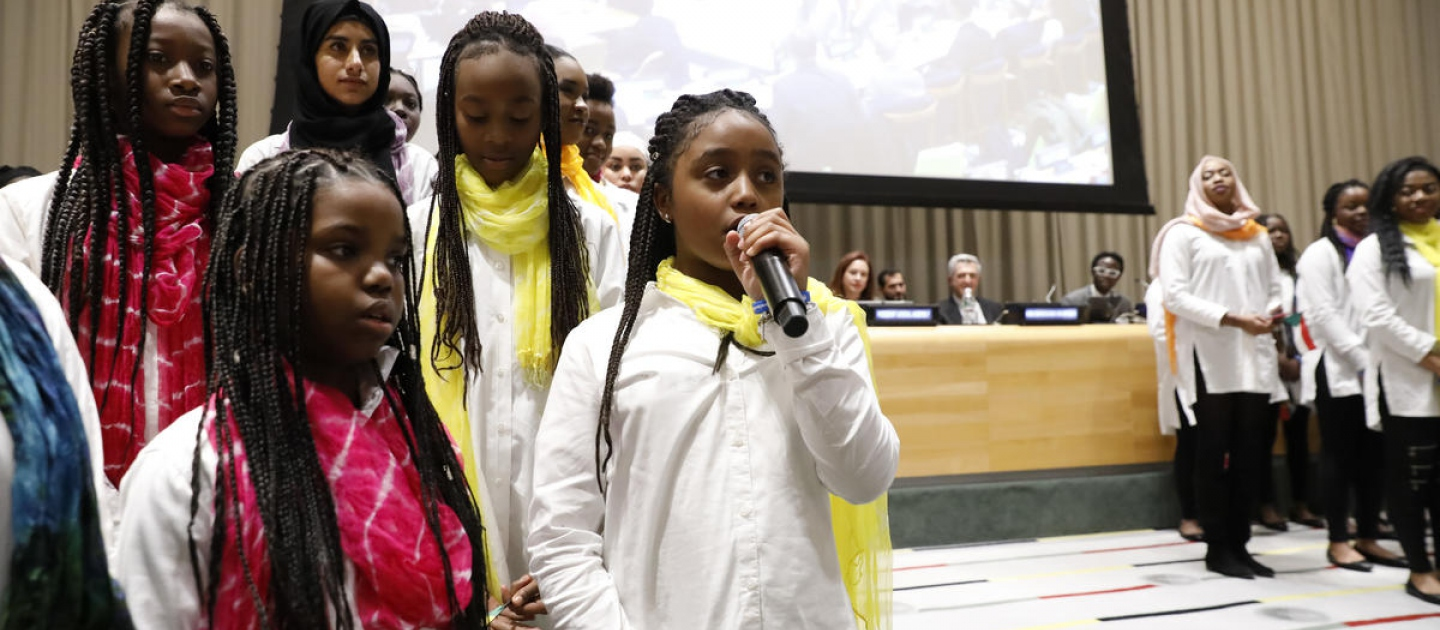 United States. The Global Compact on Refugees is approved by the UN General Assembly at the United Nations Headquarters in New York. The moment was commemorated with a special event including *senior* leaders from the UN, alongside refugees and a choir of young refugees and migrants.