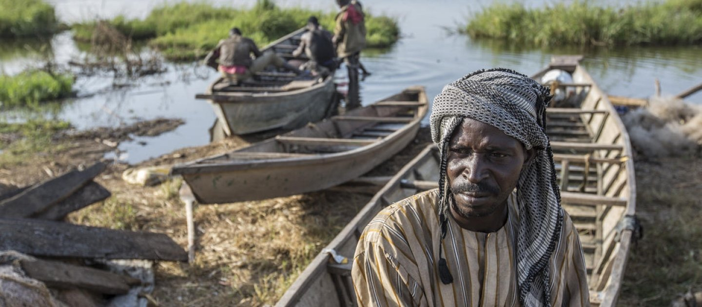 Chad. Nigerian refugees join local fishing community on shores of Lake Chad