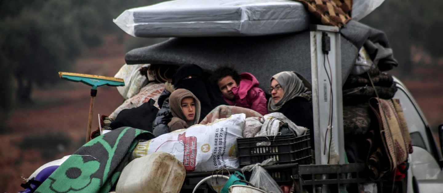 Syria. Displaced families flee ongoing attacks around Idlib