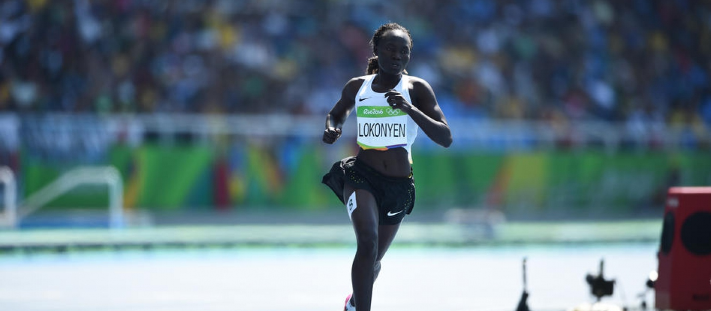 South Sudanese refugee, Rose Nathike Lokonyen, runs the 800-metres for the Refugee Olympic Team at Rio 2016, in a heat that includes the great Caster Semenya of South Africa.