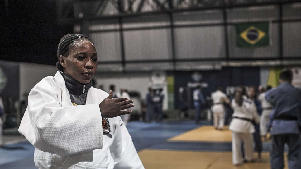 Yolande Mabika, a judoka from the Democratic Republic of the Congo, practices ahead of the 2016 Games in Rio de Janeiro, Brazil.