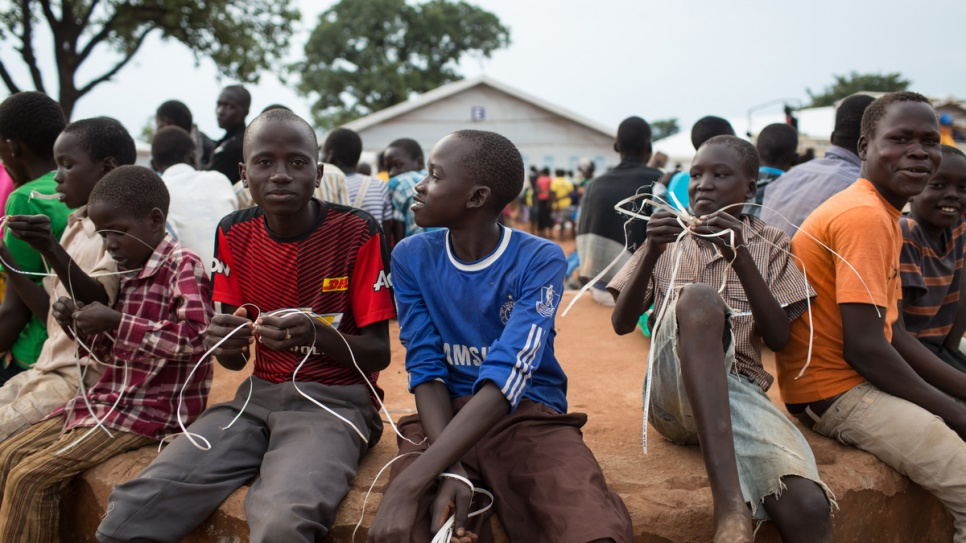 Young refugees from South Sudan at the Numanzi transit centre in Adjumani, northern Uganda.