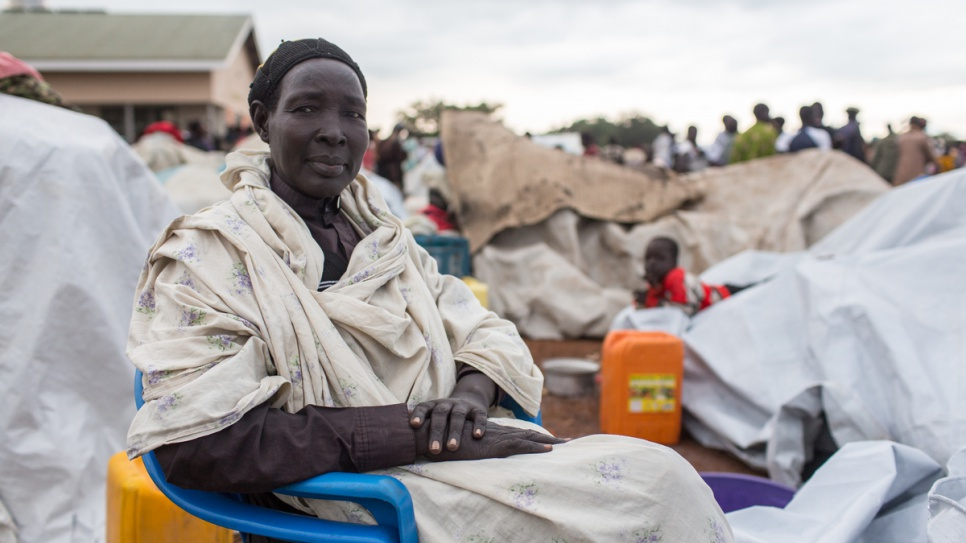 Rachel Bul, 59, from Paginya in South Sudan fled on foot from her village with her children when soldiers started looting in the area.