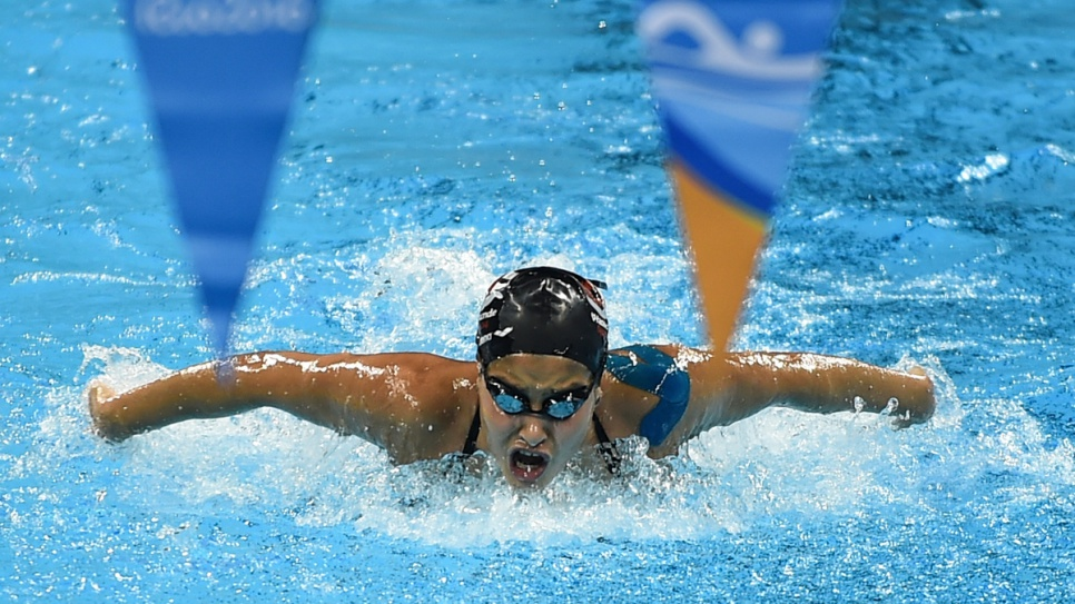 Yusra in training at the Olympic swimming pool. Her story has captured the imagination of the world.