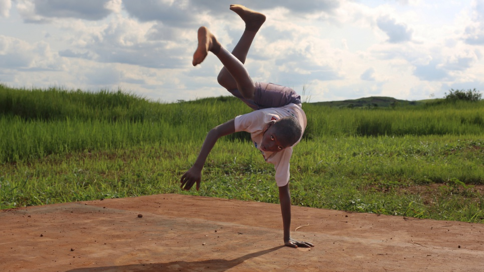A  young Capoeira player trains in Mole refugee camp, in the far north of the Democratic Republic of the Congo.