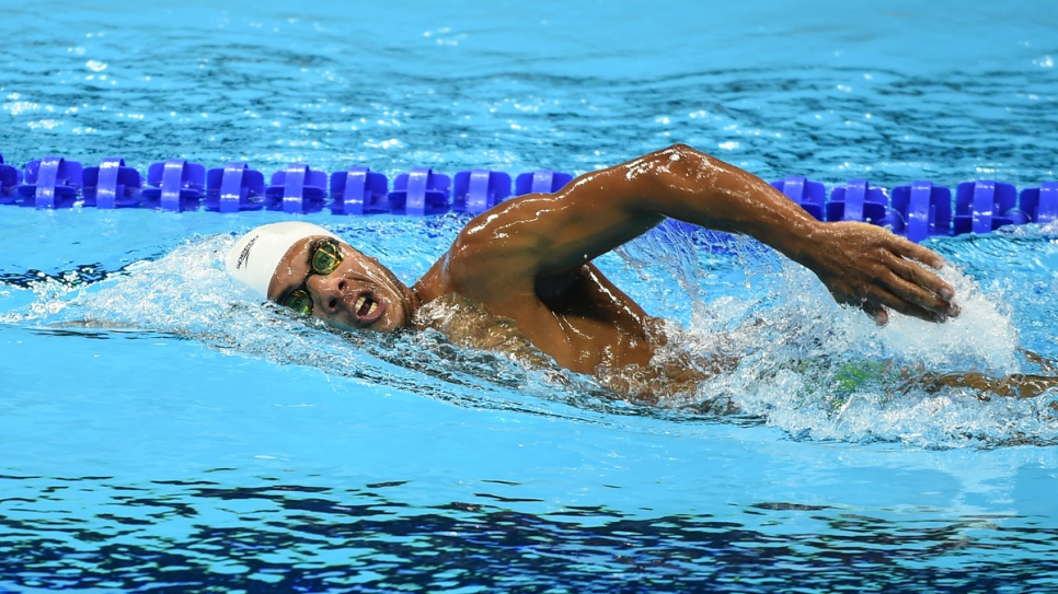 Rami Anis, 25, training at the Olympic swimming pool in Rio de Janeiro, Brazil.