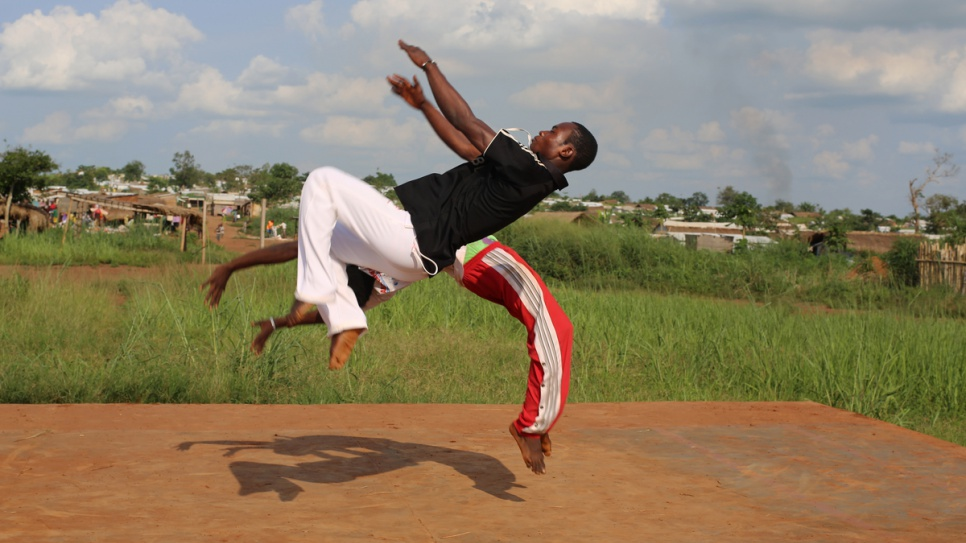 Capoeira players train in Mole refugee camp, in the far north of the Democratic Republic of the Congo.