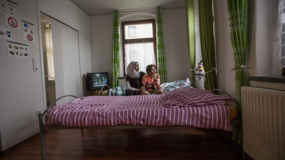 Layali and her son, Riyad, arrived in Germany in mid-December. They now live in this small apartment in the German town of Thalheim.