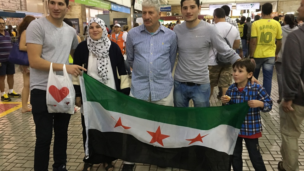 A Syrian refugee family in Rio de Janeiro turn out to support the Refugee Olympic Team.