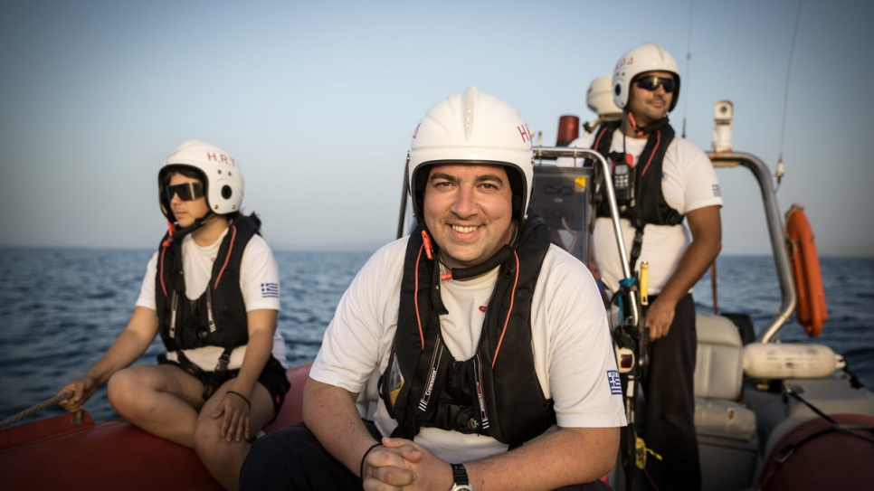 Konstantinos Mitragas (centre) on a training exercise with fellow HRT volunteers Antigoni (left) and Panagiotis (right).
