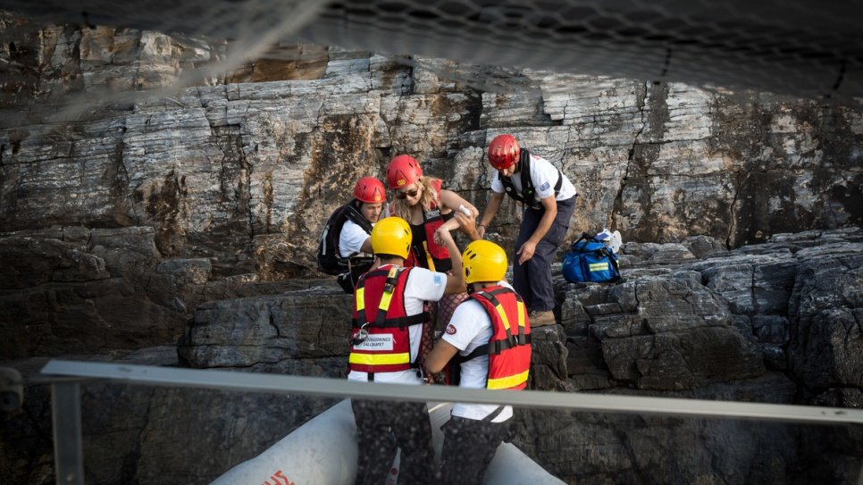 Hellenic Rescue Team volunteers conduct a training exercise on the Greek island of Samos.