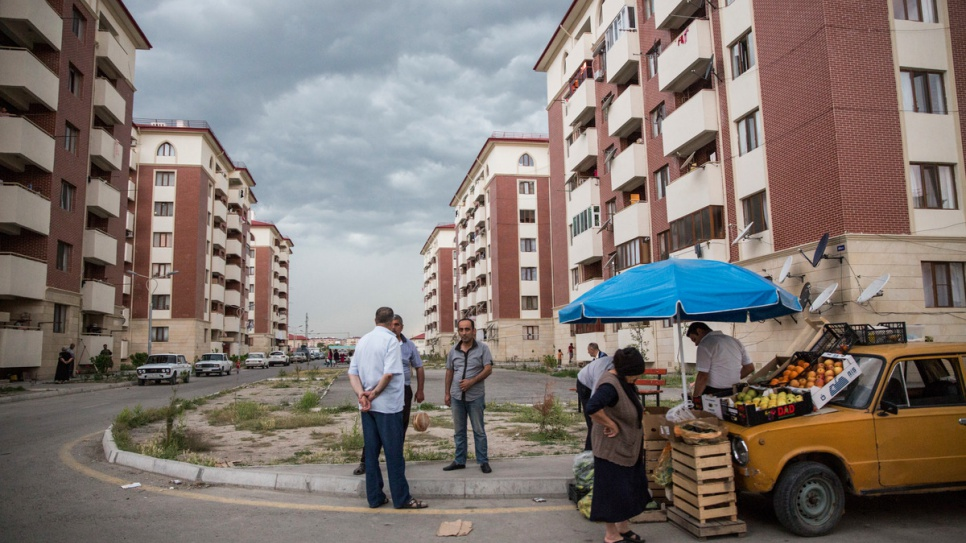The blocks of 886 apartments in Barda were built in 2015 to accommodate approximately 4,000 people displaced by the conflict in the Nagorno Karabakh region of Azerbaijan during the early 1990s.