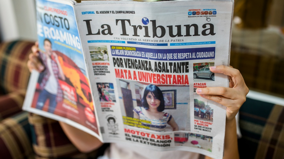 The front page of daily newspaper La Tribuna leads on the murder of a university student the previous day in Tegucigalpa.