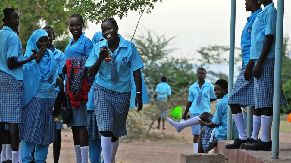 Esther Nyakong, 18, and her schoolmates return to the classroom at Morneau Shepell boarding school for girls, near Kakuma refugee camp.