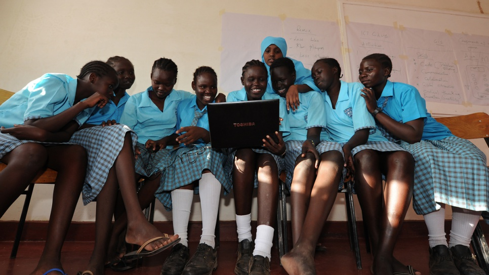 South Sudanese refugee Esther Nyakong, 18, attends a computer literacy class at the Morneau Shepell boarding school for girls, near Kakuma refugee camp in northern Kenya.