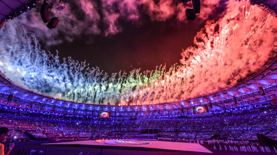 Fireworks light up the Maracanã Stadium during the Opening Ceremony of the 2016 Paralympic Games in Rio de Janeiro.