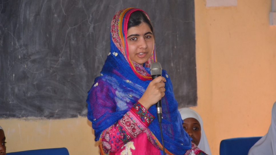 """I promise to use my voice to tell your stories."" Malala Yousafzai, Nobel Peace Prize laureate and celebrated education activist, speaks to young Somali refugees during her visit to Dadaab camp in Kenya July 2016."