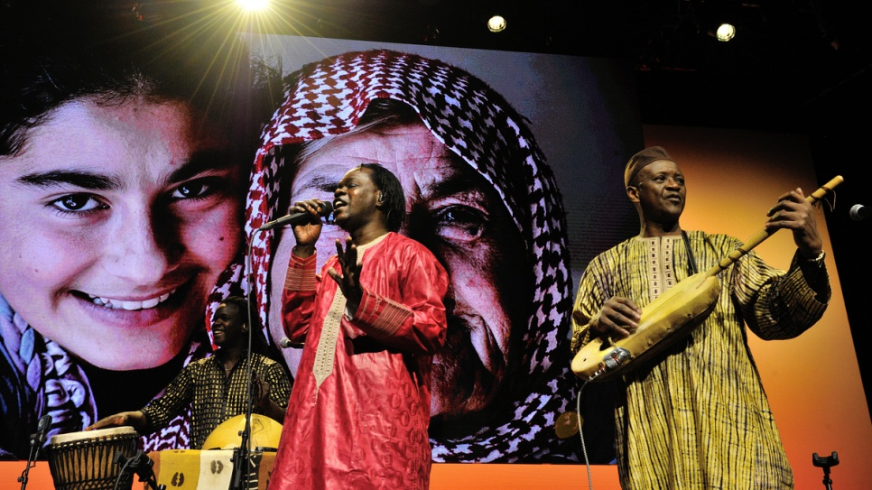 Senegalese singer and guitarist, Baaba Maal, sings at the ceremony.