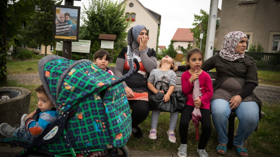 """Our biggest fear was that the children would be hurt or killed,"" says Syrian refugee Zaha, 35, (left) who has found safety in Germany."