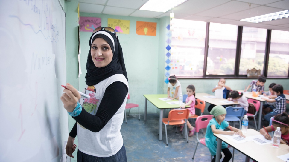As a Palestinian in Syria, Lujain received free education into adulthood. Now displaced, she is imparting the love of learning to her students in Kuala Lumpur.