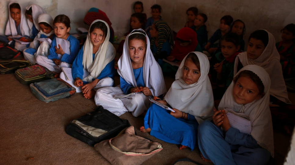 Afghan girls attend class at the school where Aqeela has invested more than US$64,000 in three new classrooms, a washroom and a fully-equipped science laboratory.