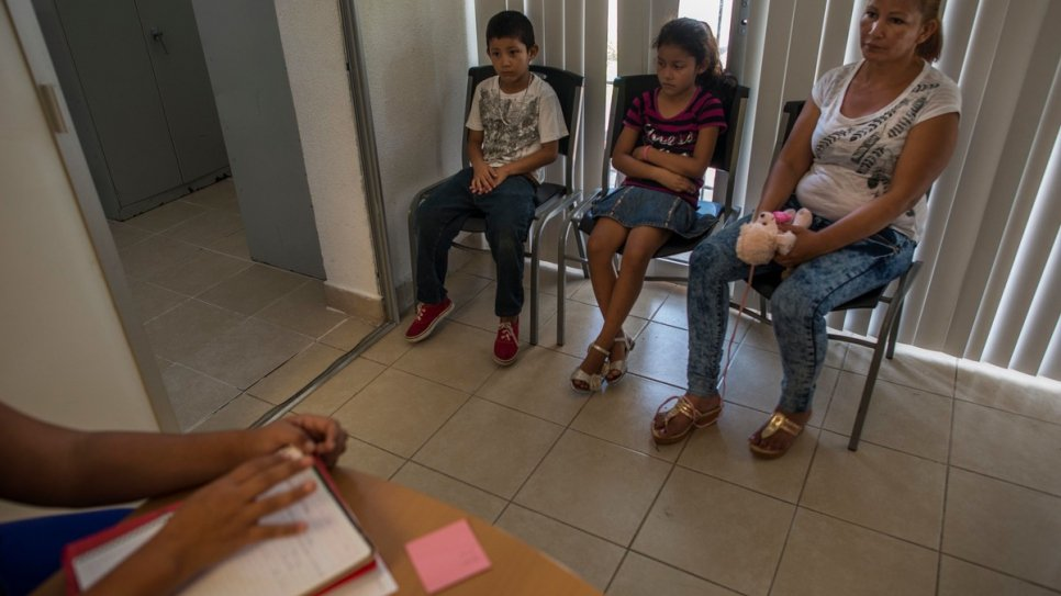 Brenda visits a social worker with her children at a daycare center in Tapachula.