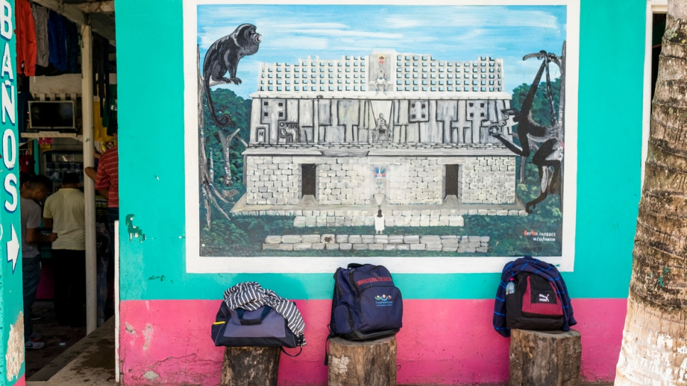 Backpacks left outside a store in La Técnica, Guatemala, a popular crossing spot into Mexico for Central Americans seeking asylum there.