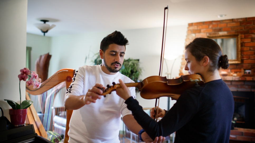 Before the war in Syria, Sari was a music instructor for six years in Damascus.