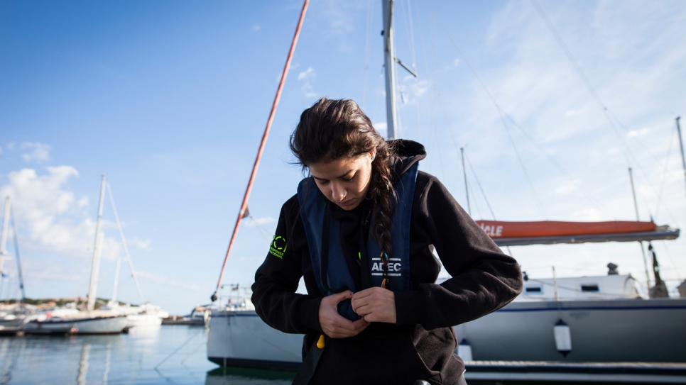 Having fled the war in Syria and crossed the Aegean Sea herself, she wants to help other desperate refugees who attempt the same dangerous journey.