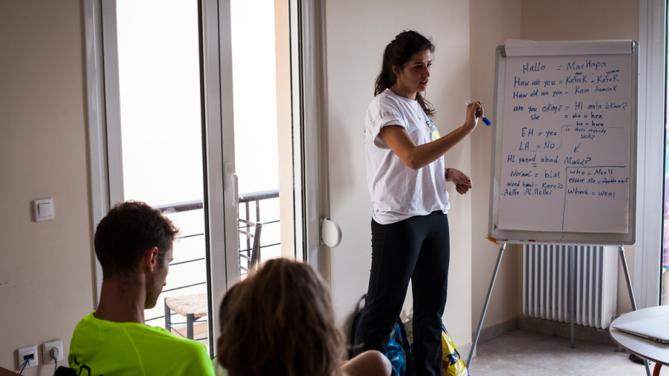 Sarah teaches Arabic to volunteers at the search and rescue organisation.