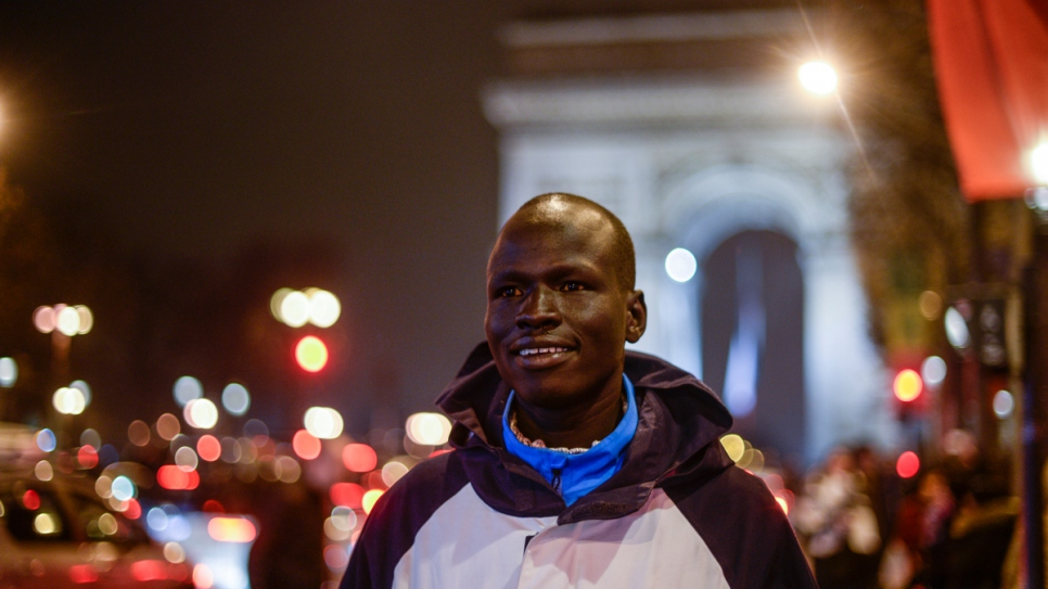 During his visit to Paris, Yiech Pur Biel saw some of the city's highlights, including the Arc de Triomphe, the Champs Elysées and the Eiffel Tower.