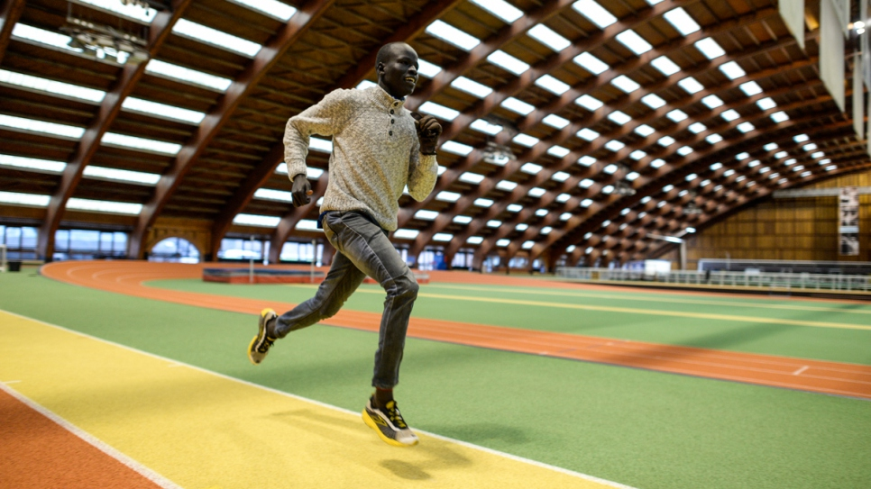 Yiech Pur Biel tries out a 400-metre indoor track in Paris.