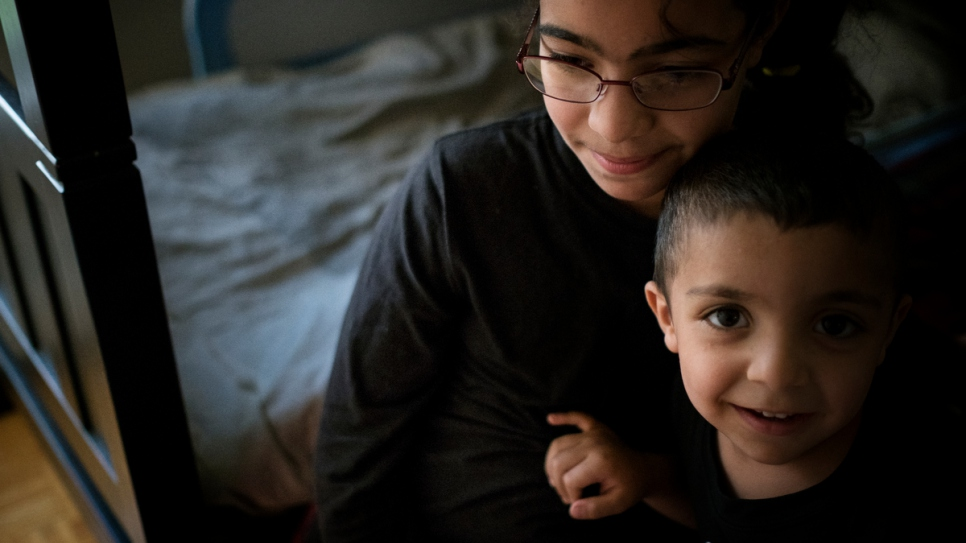 Rawan Nouman and her brother Diaa at their home in northern Toronto. She and her brothers and sisters are back in school, learning English and adjusting to life in their new home.