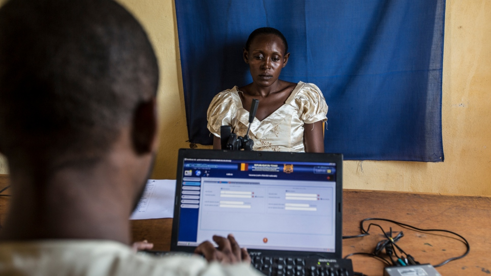 Samira Hassan, 23, enrolls in a biometric registration and nationality verification programme in Chad. The EU-funded programme supports returnees to Chad and seeks to prevent statelessness.
