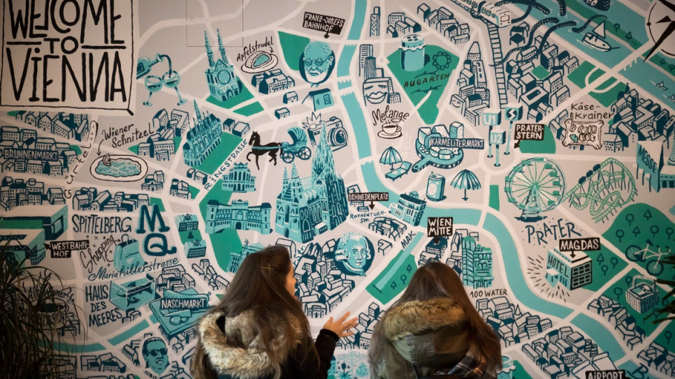 A map of Vienna adorns the walls of the Magdas Hotel.