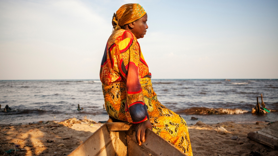 Rehema Kankindi contemplates her new life by the shores of Lake Tanganyika in Uvira.
