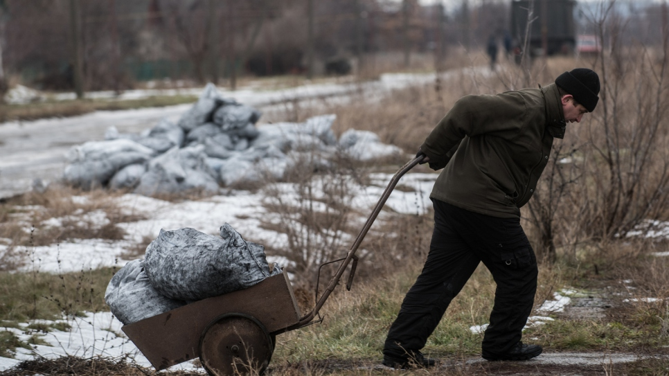 A man pulls a cart of coal to his home in the village of Luhanske, Donetsk.