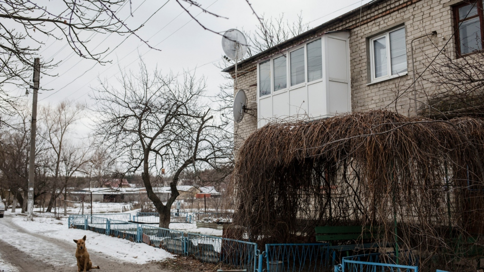 The apartment that Hanna shares with her sick husband Oleksiy in Shchastya.