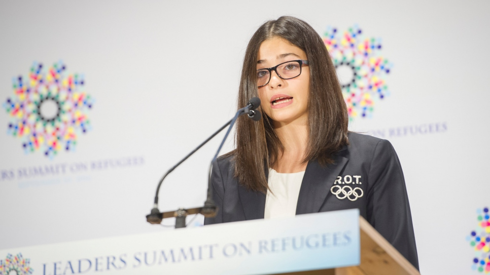 Syrian refugee Yusra Mardini addresses world leaders at a high-level meeting on refugees which took place in New York in September 2016.
