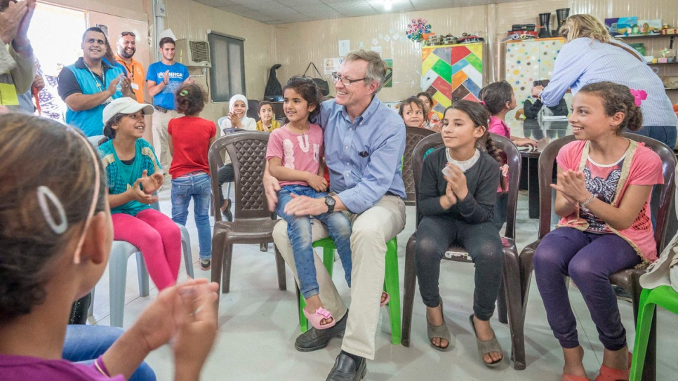 IKEA Foundation CEO Per Heggenes meets with some of the refugees supported by UNHCR.