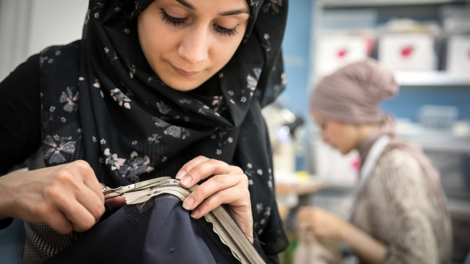 Esraa at work in the Stitch by Stitch workshop.