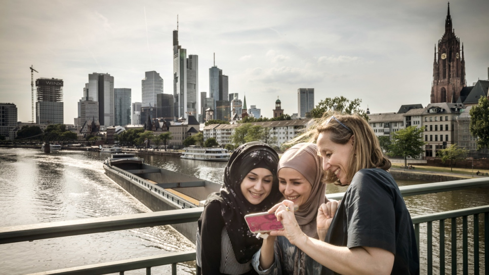 Esraa, 21, and Reyhane, 25, take a tour of Frankfurt.