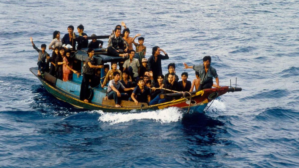 Boat people adrift in the South China Sea in May 1987.
